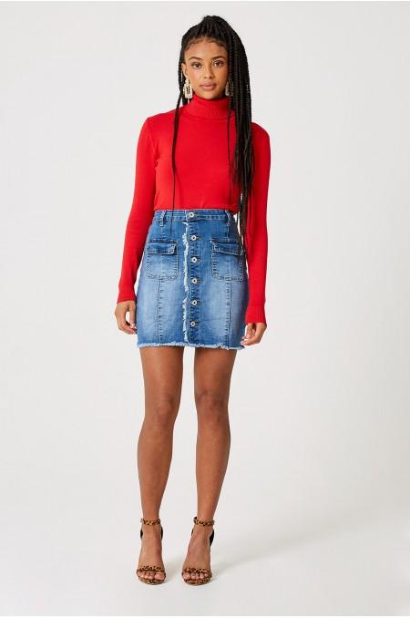 ETC. Button Down Denim Mini Skirt