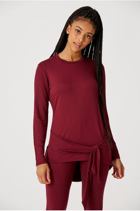 ETC. Wine Loungewear Jersey Co-ord with Self Tie Detail