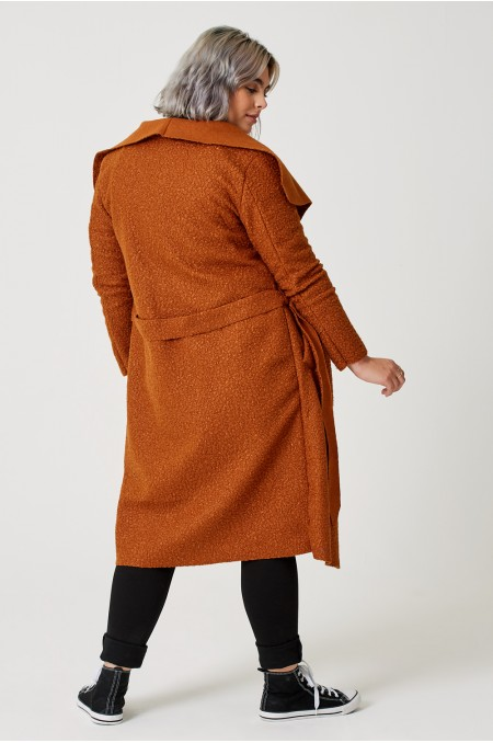 ETC. Belted Shawl Collar Coat in Fleece with Tie Waist Detail