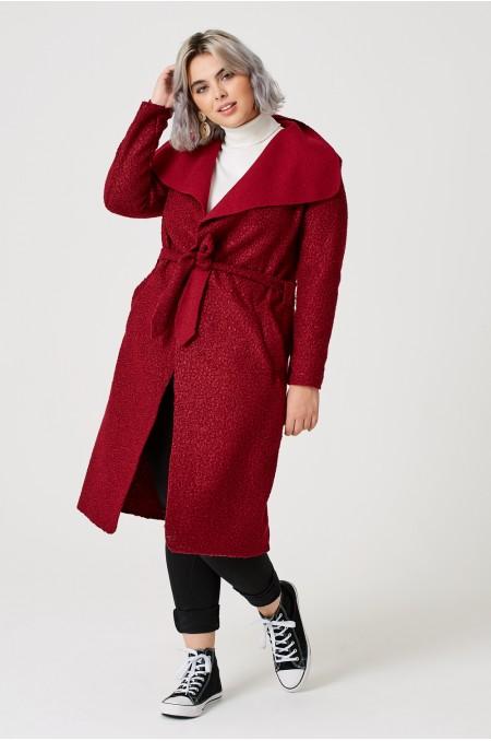 ETC. Wine Belted Shawl Collar Coat in Fleece with Tie Waist Detail