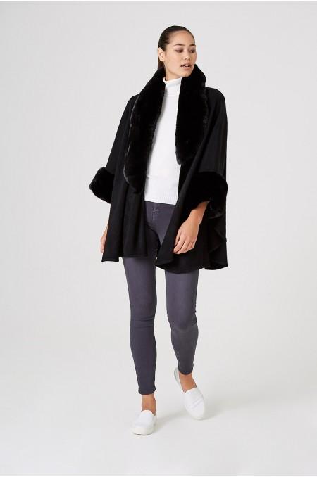 ETC. Black Shawl with Faux Fur Collar