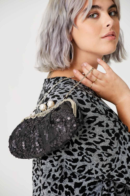 ETC. Matt Sequin Clutch Bag with Pearl Clasp