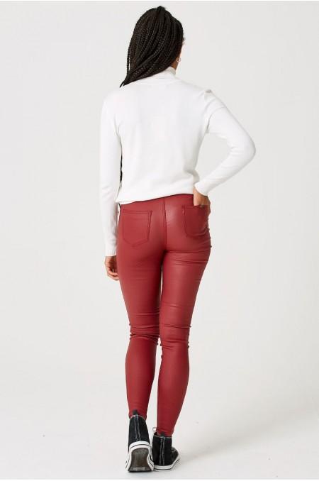 ETC. Red Coated High Waist Skinny Jeans