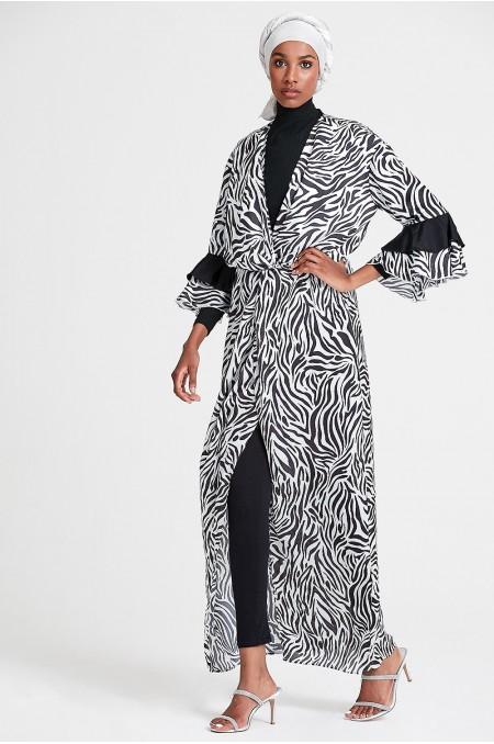 LEA Wrap Maxi Dress in Zebra Print
