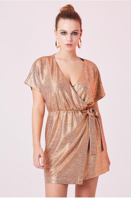 ETC. Metallic Wrap Dress
