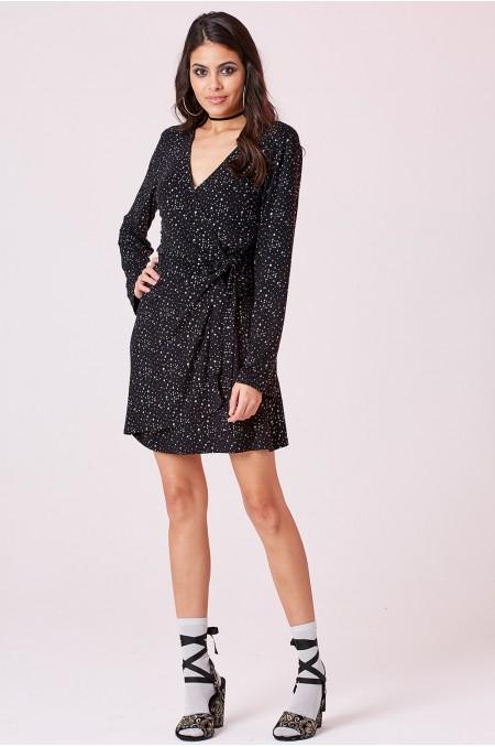 ETC. Wrap Dress with Silver Spots