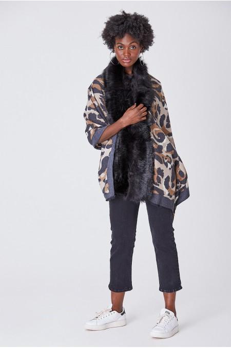 Black Leopard Print Scarf...