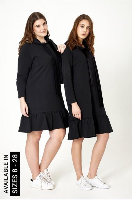 ETC. Frill Hem Hoodie Dress