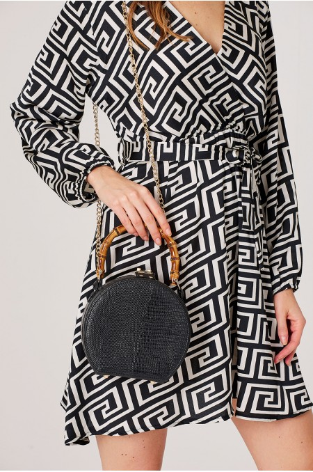 ETC. Black Circle Bag with Bamboo Handles