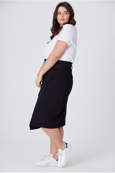 ANNIKA Black Denim Paperbag Skirt