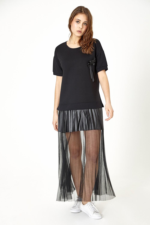 ETC. Black T-Shirt Dress with Chiffon Hem
