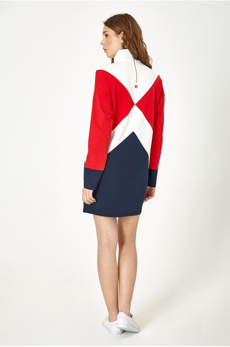 ETC. Red Ivory Blocked Sweat Dress