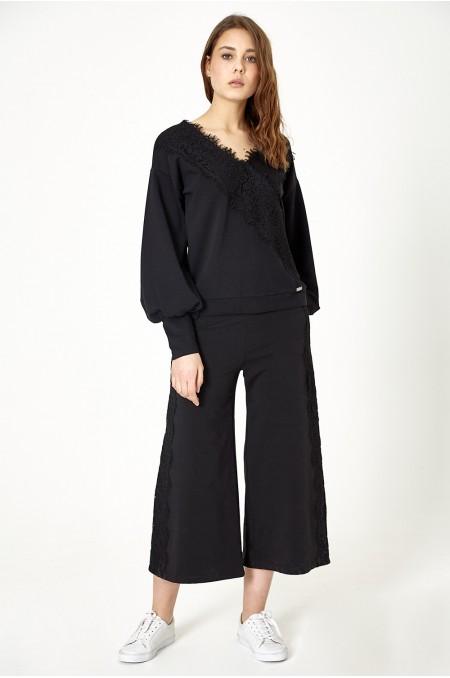 ETC. Black Sweatshirt with Lace
