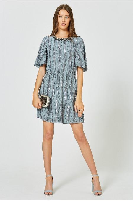 MIREILLE Embellished Smock Dress