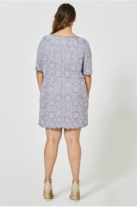 MARYSE Floral Beaded Tshirt Dress