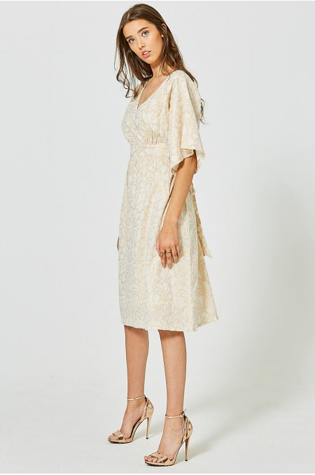 GENEVIEVE Clipped Jacquard Kimono Dress