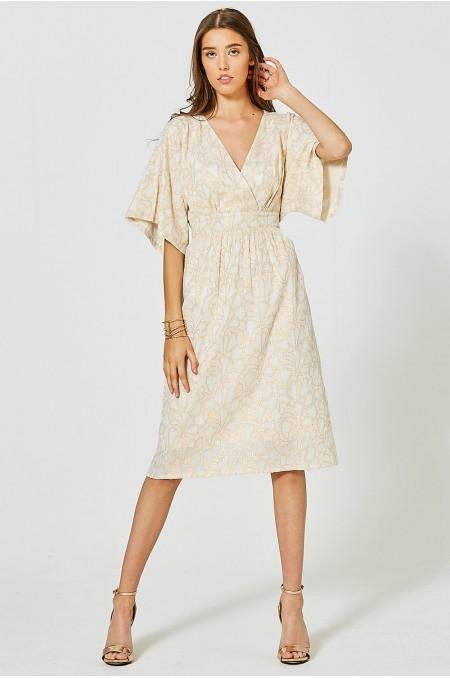 Clipped Jacquard Kimono Dress