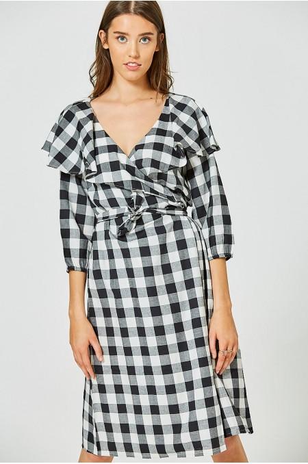 DADO Gingham Wrap Dress