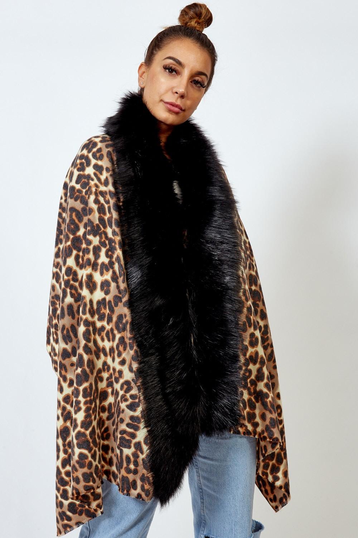 ETC. Camel Fur Trim Leopard Print Shawl