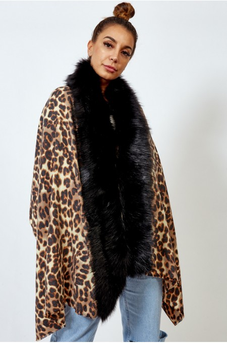 Camel Fur Trim Leopard...