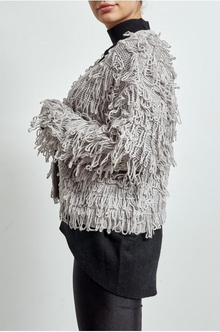 ETC. Light Grey Oversized Shaggy Knit Cardigan