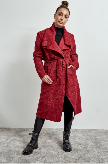 ETC. Maroon Teddy Waterfall Coat