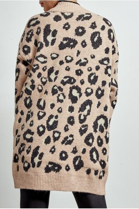 ETC. Nude Leopard Print Chunky Cardigan