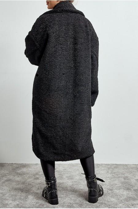 ETC. Black Oversized Teddy Coat