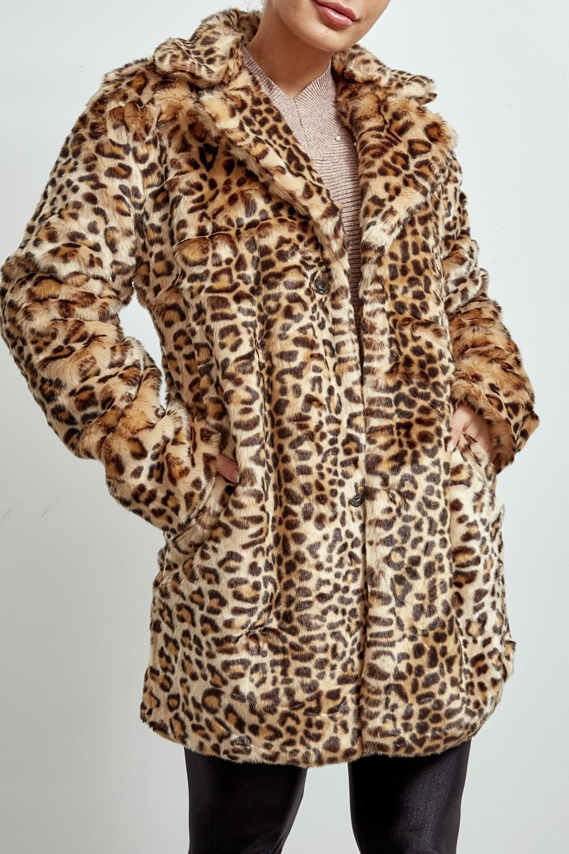 ETC. Camel Leopard Print Faux Fur Short Coat