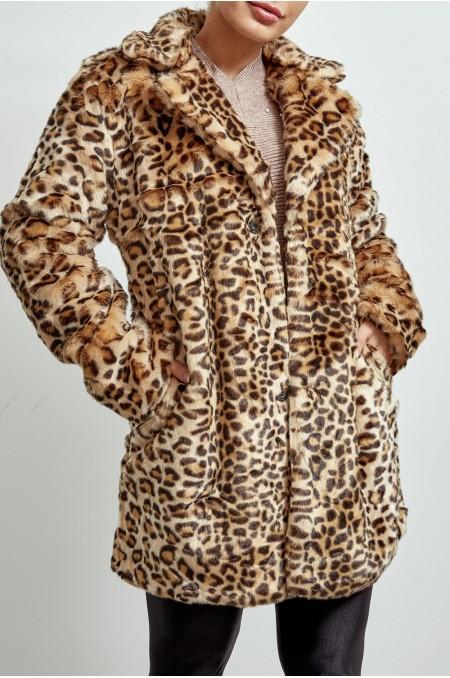 Camel Leopard Print Faux...
