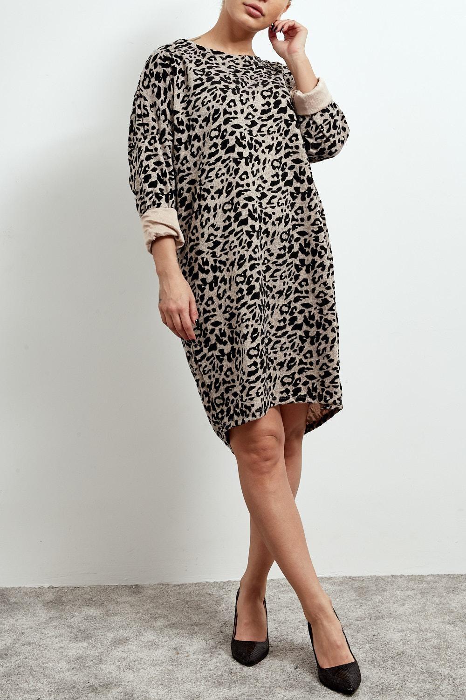 ETC. LEOPARD PRINT BEIGE DRESS